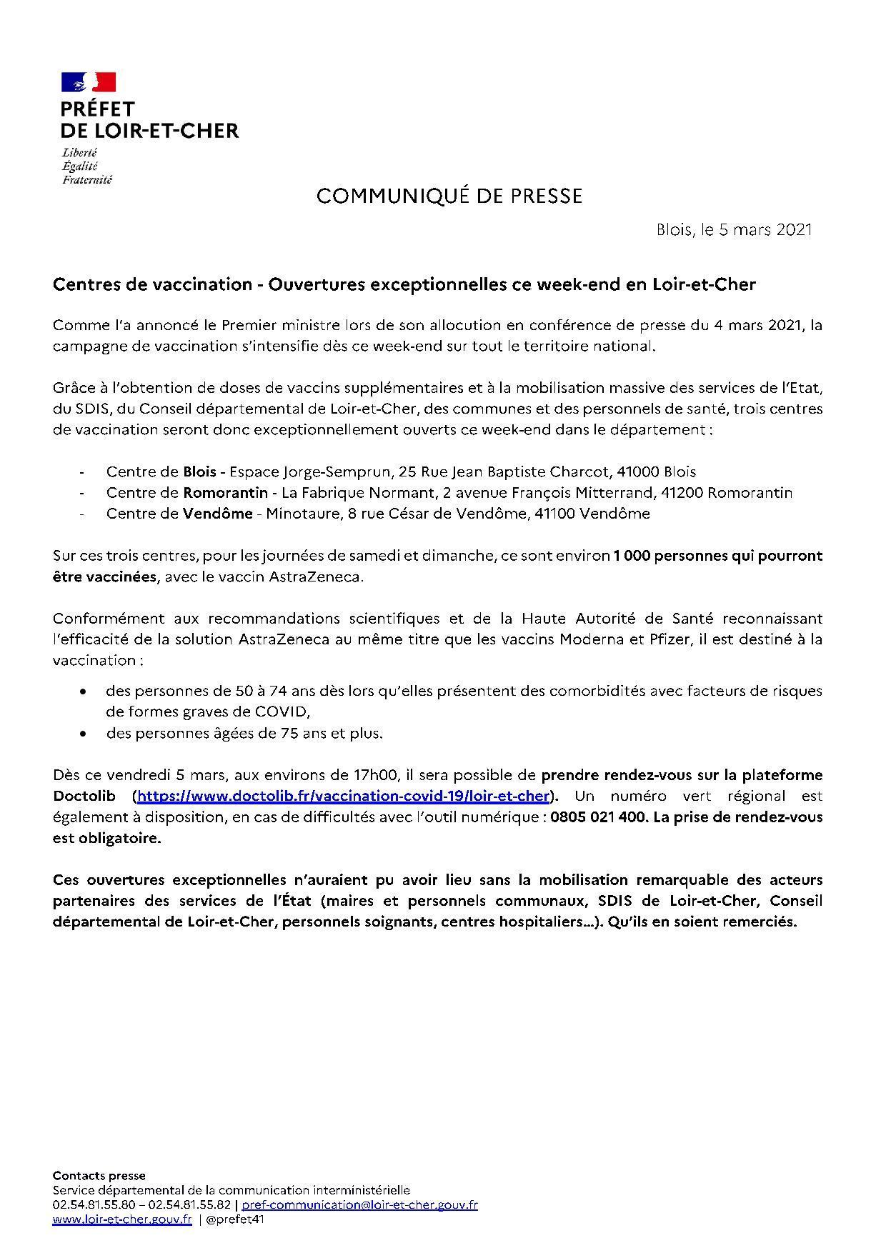 05 03 2021 ouvertures exceptionnelles de centres de vaccination ce week end page 001
