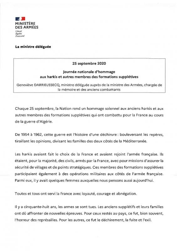 25 09 2020 message journee nationale d hommage aux harkis et autres memebres des formations suppletives 3 page 001