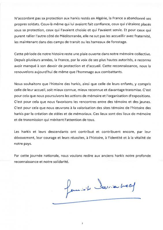 25 09 2020 message journee nationale d hommage aux harkis et autres memebres des formations suppletives 3 page 002